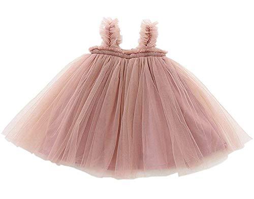 GSVIBK Baby Girls Tutu Dress Toddler Tulle Tutu Dress Infant Long Sleeve Cotton Dresses Princess Party Dress 18M Pink 708