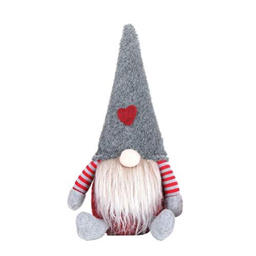 Amosfun Navidad Sueco gnomo Felpa Juguetes árbol de Navidad decoración Ornamento Regalo (Gris)