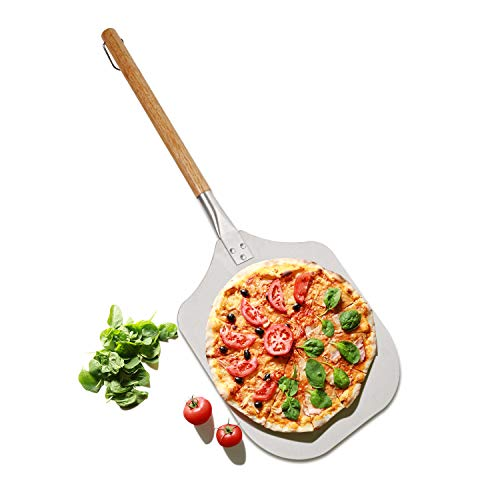 Jayzuum Pizzaschieber Pizzaschaufel mit großer Fläche - 30,5cm x 36cm, Griff aus Holz, Edelstahl
