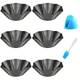 Abgream Tortilla Pan Set - 6 Pack Carbon Steel Non-Stick Taco Salad Bowl Tortilla Shell Maker Black Baking Pans with a Silicone Potholder and a Basting Brush (Large)