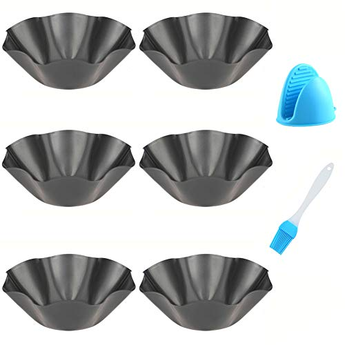 Abgream Tortilla Pan Set  6 Pack Carbon Steel NonStick Taco Salad Bowl Tortilla Shell Maker Black Baking Pans with a Silicone Potholder and a Basting Brush Large
