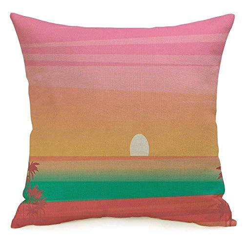 Lino decorativo Cuadrado Throw Pillow Cover Case Tropical Coast Summer Sunset Tourism Relax Palm Promenade Trendy Beach Flat Dusk Naturaleza Sand Cloud Funda de almohada Cojín Funda de cojín para sofá