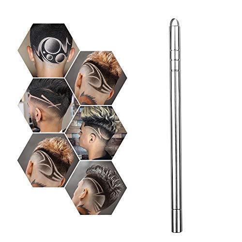 DIY Hair Tattoo Rasierklingen Stift, Widmung Haar Rasierstift mit 10 Klingen für Frisur Mode (Silber)