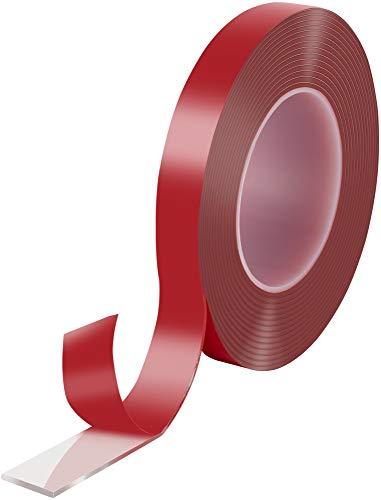 Poppstar Cinta doble cara transparente de acrílico (5 m x 19 mm x 2 mm) | Cinta adhesiva acrilica