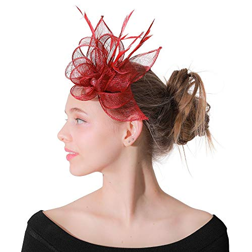 YADSHENG Headband Hats Women Tea Party Hat and Flower Mesh Hair Clip Headwear with for Girls Fascinators (Color : Red, Size : Free Size)