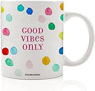 Good Vibes Only Coffee Mug Cute Gift Idea Positive Energy Inspirational Quote Rainbow Polka Dot Christmas Happy Birthday Present Wife Sister Mom Friend Coworker 11oz Ceramic Tea Cup Digibuddha DM0288