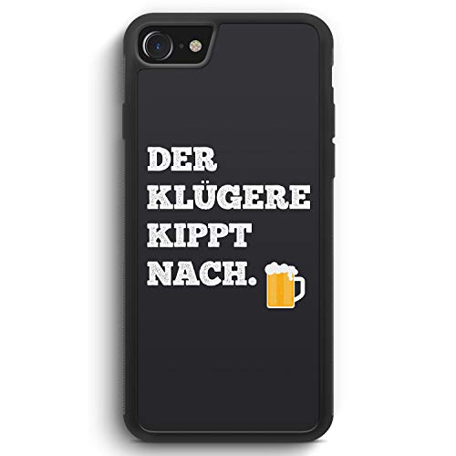 Der Klügere Kippt Nach. Bier - Silikon Hülle für iPhone SE 2020 - Motiv Design Spruch Lustig Cool Witzig - Cover Handyhülle Schutzhülle Hülle Schale