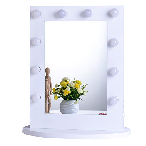 Chende Large Lighted Vanity Mirror in Bedroom Vanity Set, Hollywood Mirror with Bright Light Bulbs for Makeup, Wall Mounted or Standing, 25.6'' x 19.7''