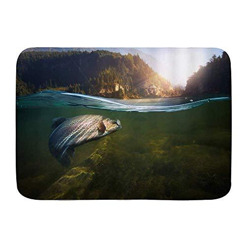 Fußmatten, Angeln Großer Fisch Schwimmen im Lake Green Mountain Pine Forest, Küchenboden Badteppichmatte Saugfähig Innen Badezimmer Dekor Fußmatte Rutschfest