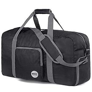 "28"" Foldable Duffle Bag 120L for Travel Gym Sports Lightweight Luggage Duffel By WANDF (28 inches (80 Liter), Black 28'')"