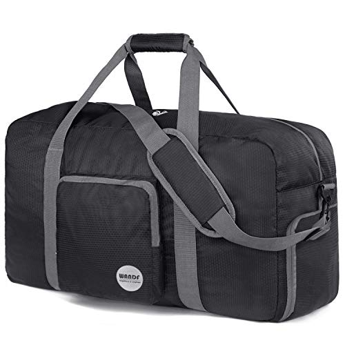 28' Foldable Duffle Bag 80L for Travel Gym Sports Lightweight Luggage Duffel By WANDF (28 inches (80 Liter), Black 28'')