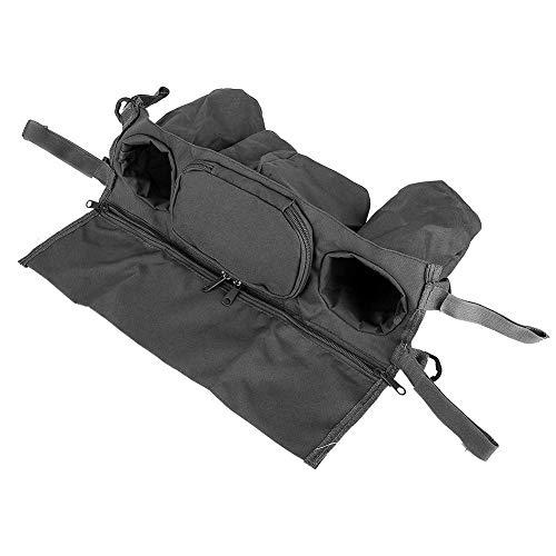Organizador de cochecito de bebé, portavasos de cochecito con diseño de cremallera, carrito colgante de tela Oxford con diseño de gancho y lazo para(black)