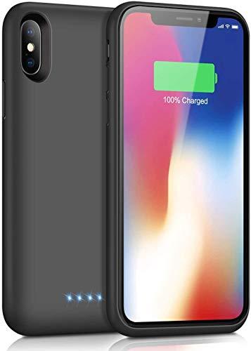 SWEYE Funda Batería para iPone X/Xs/10 6500mAh Funda Cargador Portátil [Versión Mejorada] Carcasa Batería Para iPone X/Xs/10 Carcasa Batería Recargable Power Bank Case con Diseño Ligero [5.8 Pulgadas]