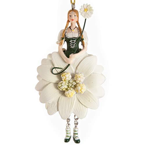 ROSEMARIE SCHULZ Heidelberg Elfen- Dekofigur Edelweiss zum Hängen mit Libelle Flower Fairy/Figur/Dekofigur/Skulptur