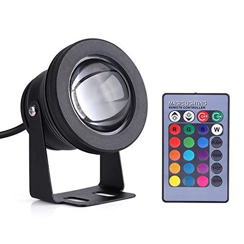 Vobor LED-Spot-Licht - Boden am Pool Licht 210W 12V LED wasserdicht Spot-Licht RGB Farbwechsel Outdoor-LED-Scheinwerfer for Marine Boat Pondside Aquarium (Farbe : Black)