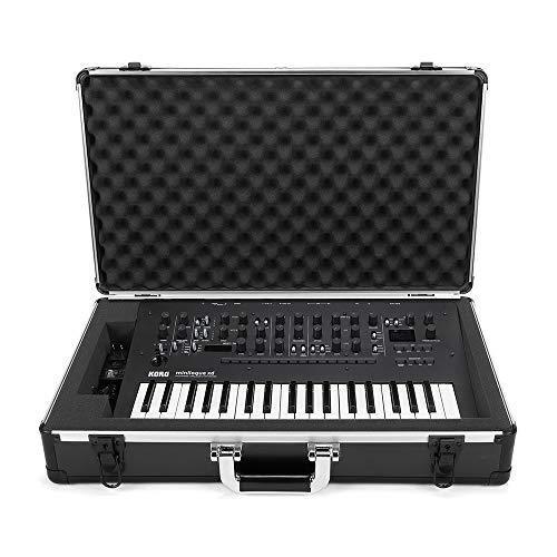 Analog Cases UNISON Case para Korg Minilogue/Minilogue XD o sintetizadores comparables (estuche de transporte, protección de las esquinas de aluminio, tapa acolchada con asa), negro