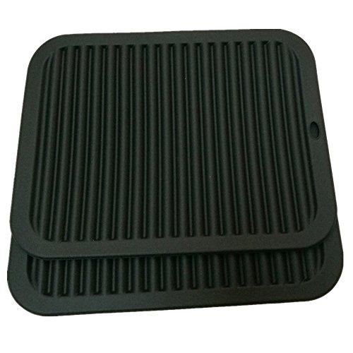 Silicone Trivets Mat Smithcraft 9'X12' Big Multi-Purpose Drying Trivet Mat, Pot Holder, Waterproof, (Set of 2) Non Slip, Flexible, Durable, Dishwasher Safe Black