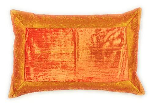 Aga's Own Funda de cojín indio de 40 x 60 cm, funda de cojín, funda oriental india (naranja)