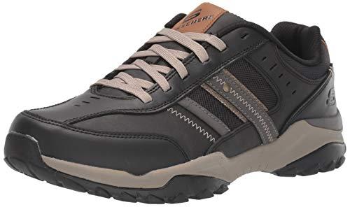 Skechers Henrick-Delwood, Zapatillas Altas Hombre, Negro (BLK Black Leather W/Mesh), 42.5 EU