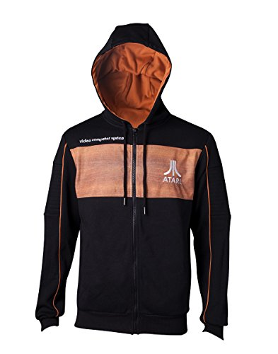 Bioworld Atari Men's 2600 Logo Full Length Zipper Hoodie, Large, Orange (HD437265ATA-L) Sudadera con Capucha, Negro (Black Black), L para Hombre