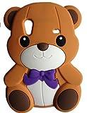 SKS Distribution marrón Silicona Corbata de Lazo Oso Bow Bear Funda/Carcasa/Cover para Samsung Galaxy Ace S5830