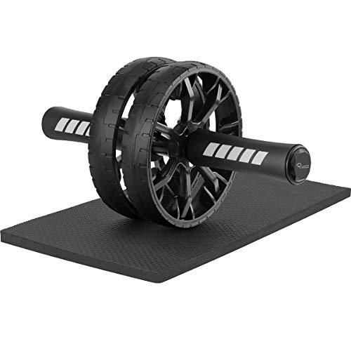 Ryaco Trainer Addominali AB Wheel, AB Roller, AB Ruota per Addominali, Attrezzo per Il Fitness con Doppie Rotelle e Base di appoggio per Le Ginocchia(Nero)