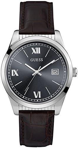 guess- Baxter Reloj para Hombre Analógico de Cuarzo con Brazalete de Piel de Vaca W0874G1