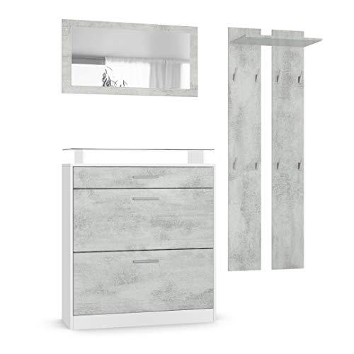 Vladon Garderobenset Garderobe Loret Mini, Korpus in Weiß matt/Front in Beton Oxid Optik