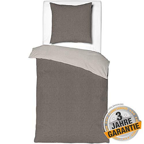 Aminata Kids - Premium Wende-Bettwäsche-Set Uni-Farben-Motiv grau, Silber 135-x-200 cm, 80x80 cm - einfarbig, aus Baumwolle mit Reißverschluss Renforce Taupe, Damen, Männer & Jugendliche, kuschelig