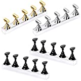 4 Sets Acrylic Nail Display Stand DIY Nail Crystal Holder Magnetic Practice Stands for False Nail Tip Manicure Tool (Black, Silver, Gold)