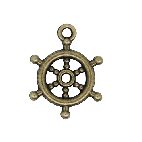 Zhichengbosi 20pz ruota timone ciondoli argentato Captain Nautical Copper