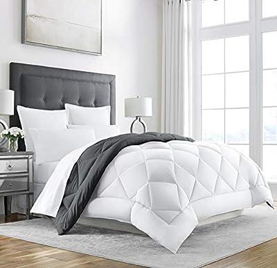 Sleep Restoration King Size Comforter for Bed - Down Alternative, Heavy, All-Season Luxury, Allergy Friendly - Hotel Bedding, Oversized Reversible Comforters, Grey/White