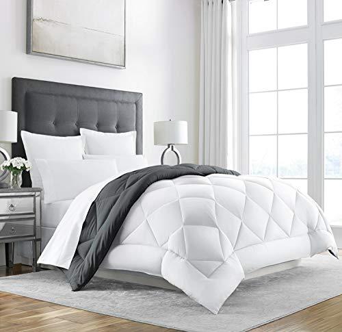 Sleep Restoration Goose Down Alternative Comforter - Reversible - All Season Hotel Quality Luxury Hypoallergenic Comforter -King/Cal King - Grey/White