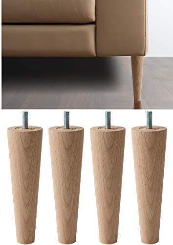 IPEA 4X Piedini in Legno Grezzo a Cono per Mobili e Divani – Set di 4 Gambe per Armadi Poltrone – Varie Dimensioni Piedi in Faggio, Colore Chiaro, 200 mm