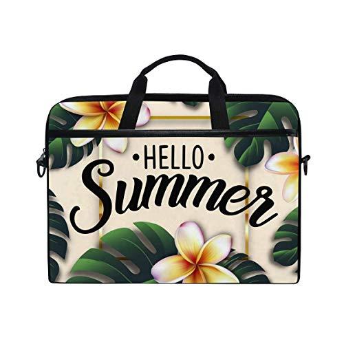 Laptop Sleeve Case,Laptop Bag,Hello Summer Palm Daisy Flower Water Briefcase Messenger Notebook Computer Bag with Shoulder Strap Handle,28.5×38 CM/14 Inch