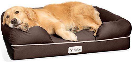 Cama de espuma viscoelástica para perros medianos y grandes, Marrón (Large Bed), 91 x 71 x 23 cm