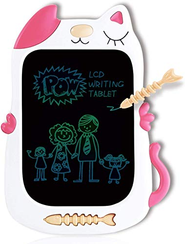 GJZZ LCD Drawing Doodle Board for 3-7 Year Old Girls Gifts,Writing and Learning Scribble Board for Little Kids - Pink White
