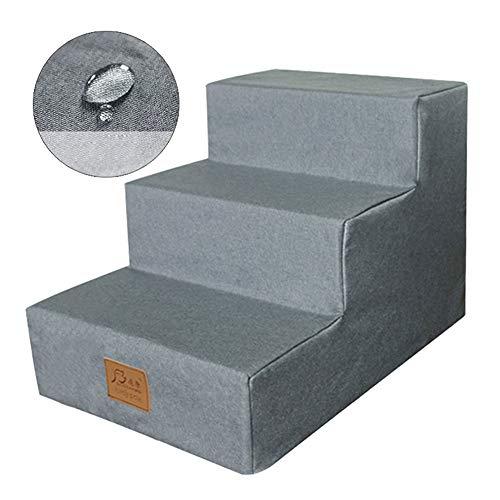 Escaliers pour Chiens Escaliers Pet Étanche avec Mousse pour Chiens Chats, Non-Slip Comfort 3 Étapes pour Ladder Lit Grand/Canapé, Gris Couverture Lavable (Size : 3 steps-60×40×40cm)