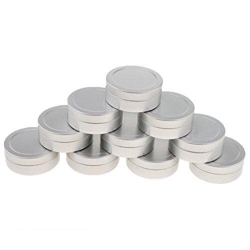 harayaa 10pcs 25ml Envases de Bálsamo Labial Latas de Aluminio Botes Cosméticos Crema Tarro Caja Redonda