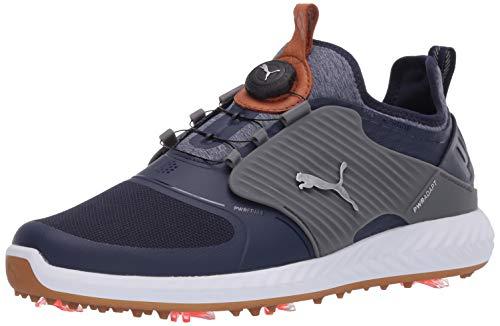 PUMA Ignite Pwradapt Caged Disc Chaussures de Golf pour Homme - Bleu - Abat-Jour Peacoat Puma Silencieux, argenté, 46.5 EU