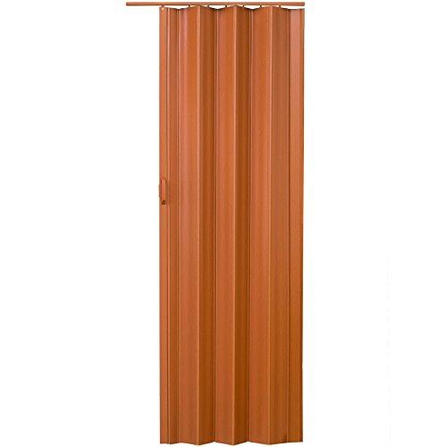 TecTake Puerta plegable de plástico 80 x 203 cm, PVC Puertas plegables, Puerta corredera - disponible en diferentes colores - (Teca | no. 401506)