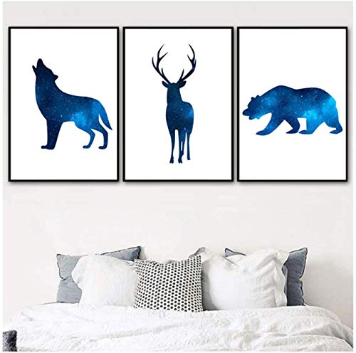 Imágenes de pared universo abstracto Lobo ciervo oso arte de pared carteles nórdicos e impresiones imágenes de animales decoración de sala de estar 3x60x80cm sin marco