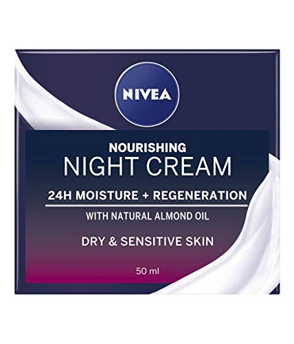 NIVEA Rich Regenerating Face Night Cream single (3 x 50 ml), Almond Oil Moisturiser for Sensitive & Dry Skin, Perfect for your Skin Care Routine