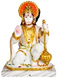 G Looks Lord Hanuman God Bajrangbali Mahavir in Ashirvad Mudra Marble Idol Statue Balaji White -(22 cm)