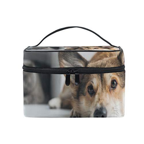 Bolsa de maquillaje, gato Corgi perro cosmético organizador de almacenamiento de artículos...