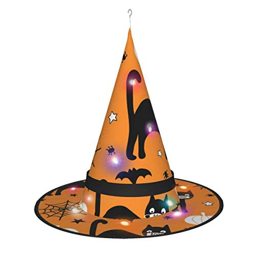 Vrollm Halloween 2020 Coronavirus Pattern Black Cat Unisex Adult Halloween Witch with Lamp Hat Halloween Party Cosplay Cap Costume Accessories