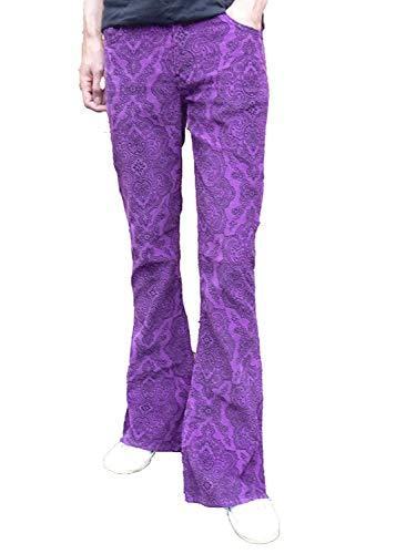 fusées pattes d'éléphants BAS Cachemire Pantalon violet velours côtelé HIPPIE MODE Indie Jeans rétro vintage pantalon - Pourpre, 36W x 30L