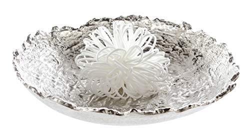 Casablanca Deko-Schale - aus Aluminium vernickelt Silber Antik-Finish D 35 cm