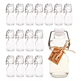 Mini Swing Top Glass Bottles with Tags and Twine for Party Favors (2 oz, 15 Pack)