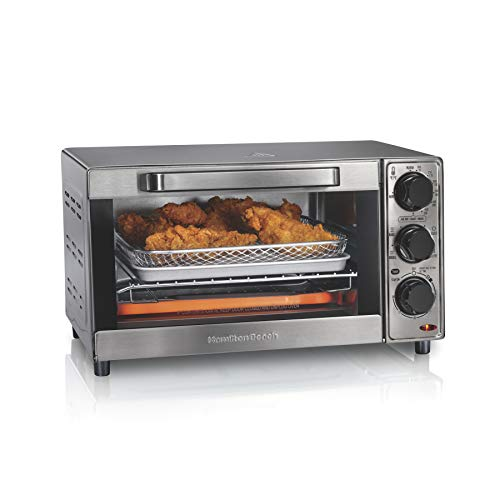 """Hamilton Beach Sure-Crisp Air Fryer Toaster Oven Fits 9"""" Pizza, 4 Slice Capacity, Powerful Circulation, Patented Controls (31403), Stainless Steel"""